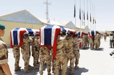Ti norske soldater har falt i tjeneste i Afghanistan. En av de verste hendelsene fant sted i Faryab- provinsen den 27. juni 2010. Fire soldater mistet livet da kjøretøyet de satt i ble rammet en veibombe. Bildet er tatt fra minnemarkeringen i Meimana.