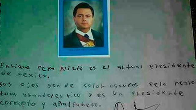 """Alumno de primaria se mofa de Peña Nieto, en tarea escolar. """"Lo describe como corrupto y analfabeto""""."""