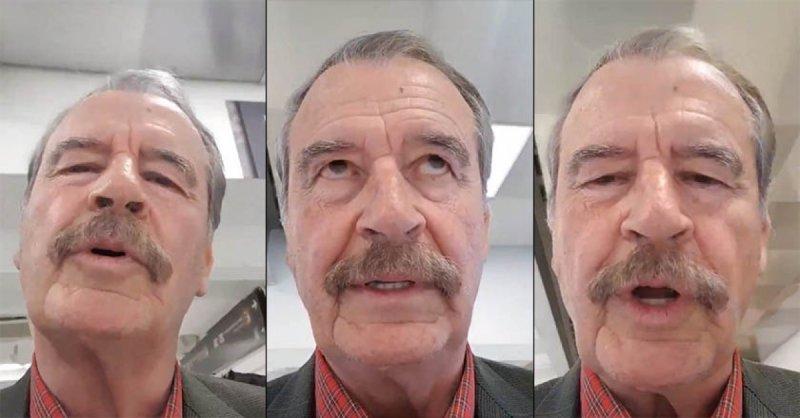 Lanza Vicente Fox extraño mensaje contra AMLO mientras se desplaza hacia atrás