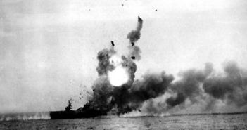 USS St. Lo (CVE-63) explodes after kamikaze strike