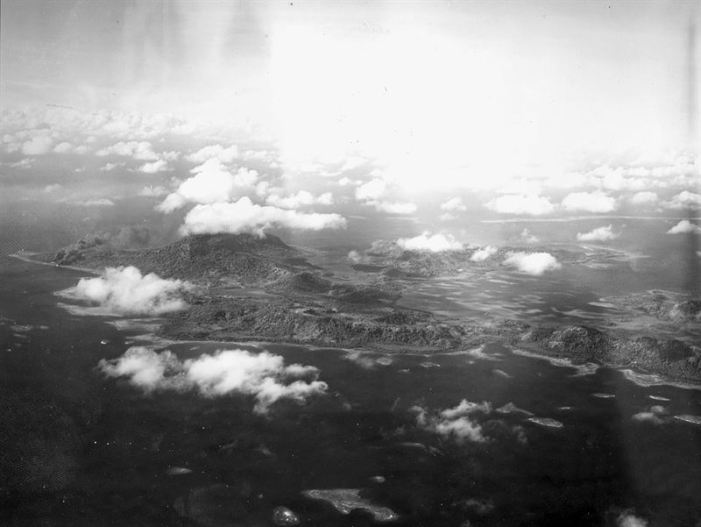 Aerial reconnaissance photograph of Truk Lagoon. (Credits: U.S. Navy)