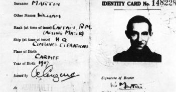 "The identification papers for ""Maj. William Martin,"" a fictional Royal Marine."