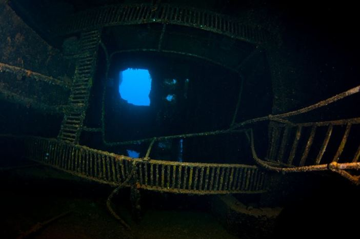 View from inside the Rio de Janeiro Maru at Truk Lagoon. (Credits: Brandi Mueller)