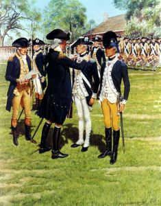 General George Washington awards the Badge for Military Merit in 1783. (Credits: History Mil)