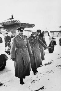 Field Marshal Friedrich Paulus (left), former commander of the 6th Army at Stalingrad with his chief of staff, Lt. Gen. Arthur Schmidt (center), and his aide, Col. William Adam, after their surrender to Soviet forces in January 1943. (Credits: Bundesarchiv)