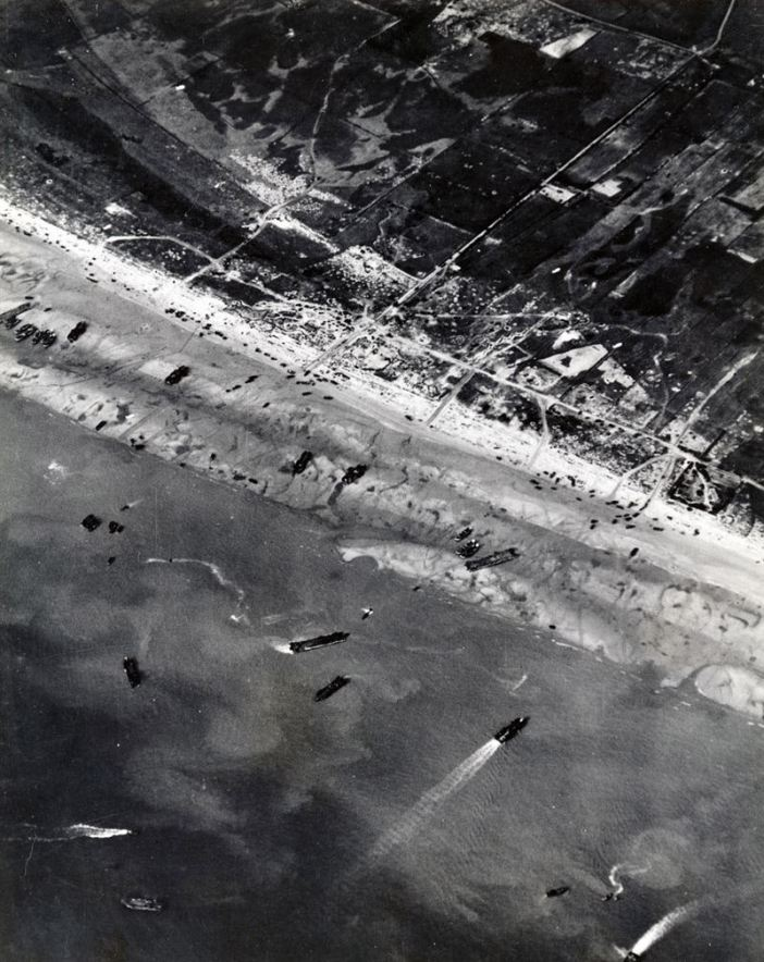 Aerial photograph of Utah Beach on 6 June 1944