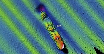 The wreck of the U.S. Navy tugboat USS Conestoga is seen on sonar in at a depth of 185 feet in the waters of the Greater Farallones National Marine Sanctuary in California. Conestoga departed San Francisco Bay on March 25, 1921 and vanished with 56 men. The discovery of the wreck solves a 95 year-old mystery. (Credits: U.S. Navy / NOAA)