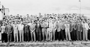 Operation Paperclip: Group of 104 German rocket scientists in 1946, including Wernher von Braun, Ludwig Roth and Arthur Rudolph, at Fort Bliss, Texas. The group had been subdivided into two sections: a smaller one at White Sands Proving Grounds for test launches and the larger at Fort Bliss for research. Many had worked to develop the V-2 Rocket at Peenemünde Germany and came to the U.S. after World War II, subsequently working on various rockets including the Explorer 1 Space rocket and the Saturn (rocket) at NASA.