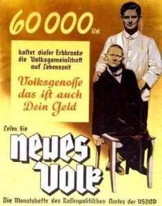 A propaganda poster depicts a disabled man and his doctor
