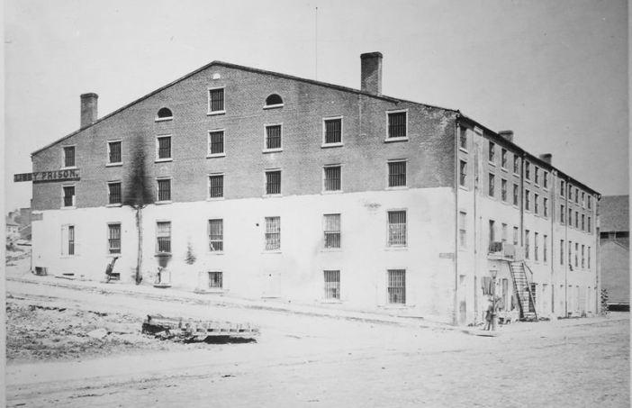 Another view of Libby Prison, showing the barred windows.