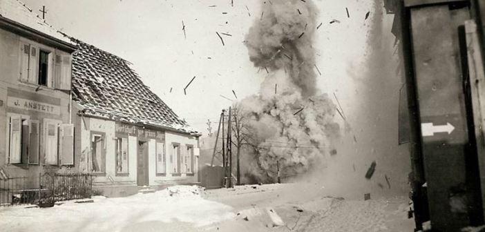 A German bridge is blown sky high by U.S. Engineers