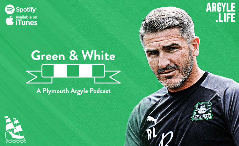 The Green and White podcast logo set next to an image of Ryan Lowe on a field of diagonal green stripes.