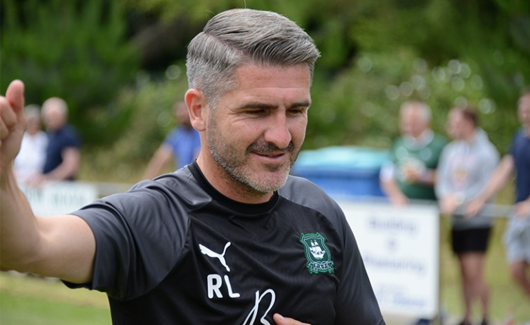 Plymouth Argyle manager Ryan Lowe in the 2019/20 Plymouth Argyle staff training kit.