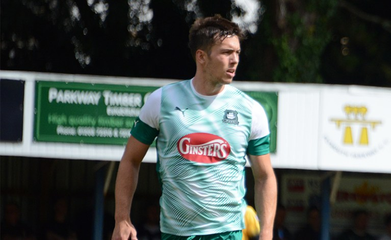 Niall Canavan in the 2019/20 Plymouth Argyle away kit.