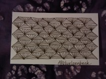 a hybrid of Zentangle patterns Echo and Facet
