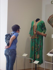 Carly admiring beautiful African costume