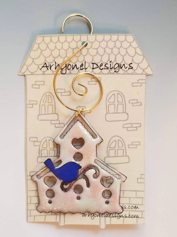 Enameled Birdhouse Ornament