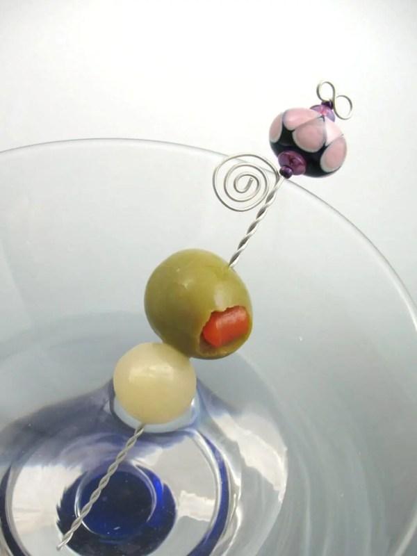 Lampwork Martini Picks Examples