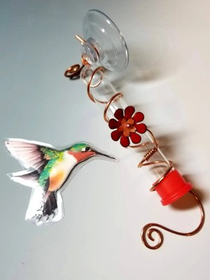 Copper & Enamel Hummingbird Feeder