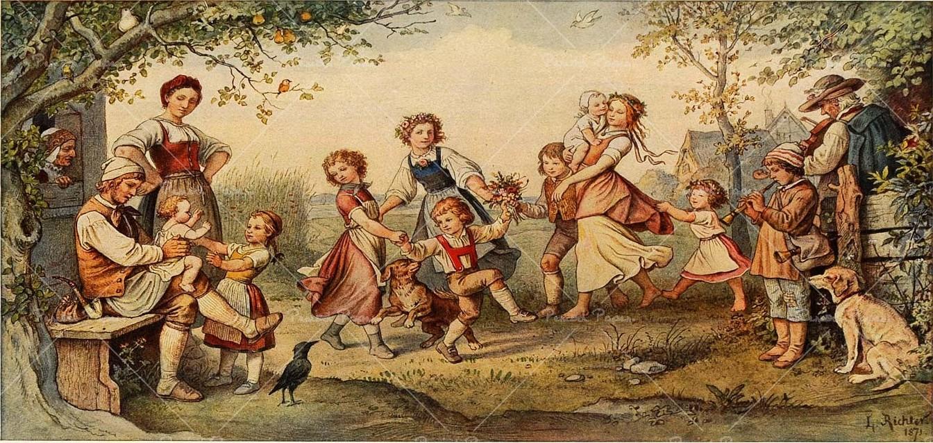 Адриан Рихтер. Детский хоровод. 1871.