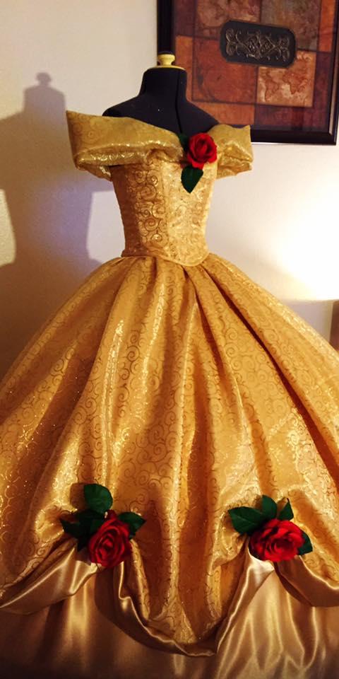 Belle\'s golden ballgown – Aria Couture