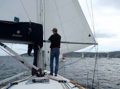 Running downwind with the jib poled out