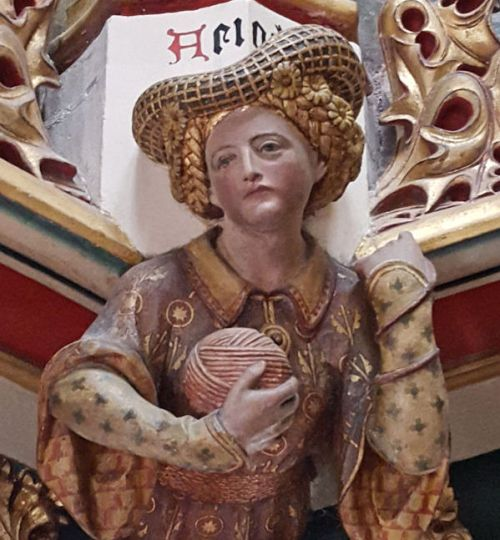 Sculpture of Ariadne overlooking the labyrinth in the Chaucer Room, Cardiff Castle, Cardiff