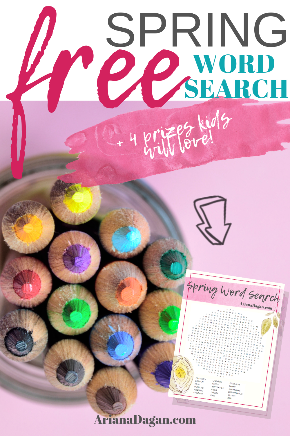 Free Spring Word Search printable by ariana dagan