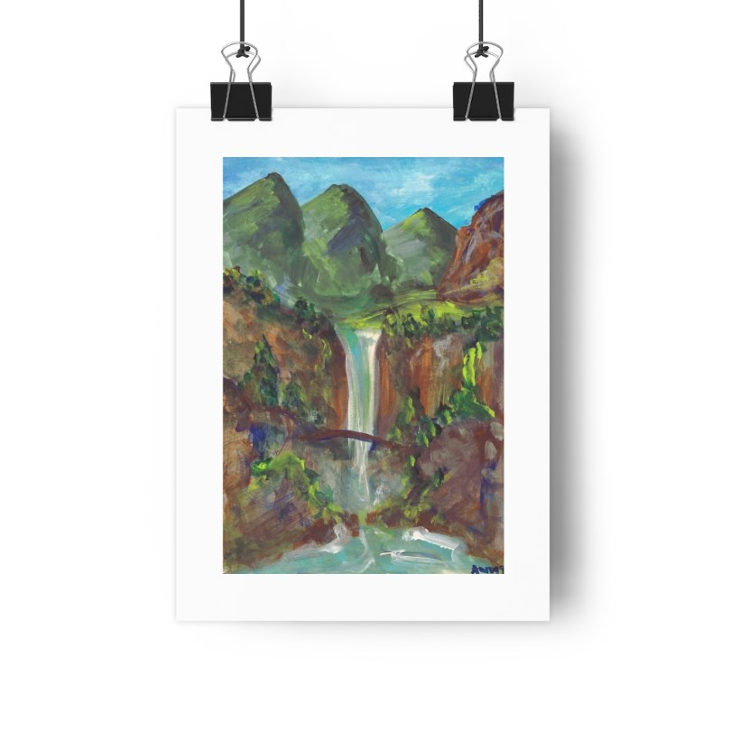 """Multnomah Falls"" Painting Giclée Art Print – 8″x11″"