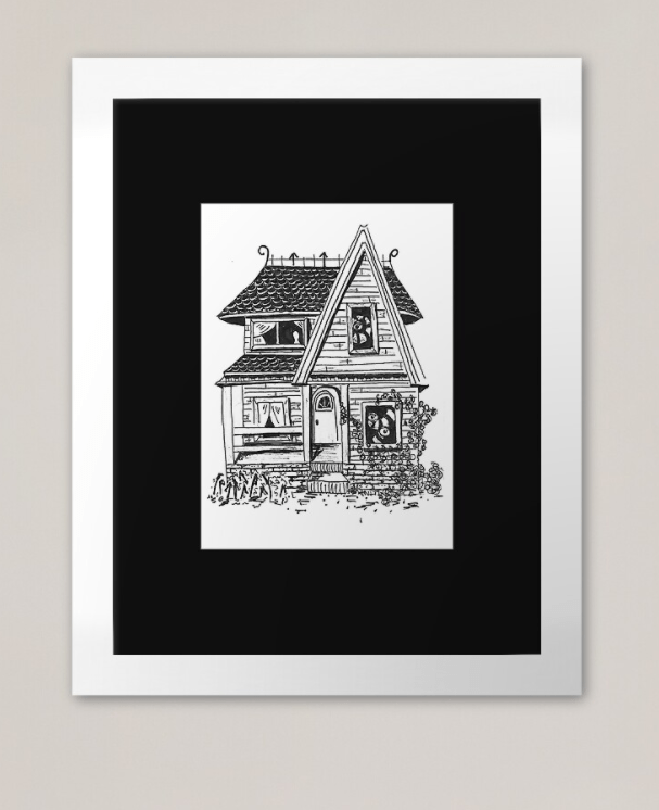 5″x7″ Haunted House Pen and Ink Illustration Commission