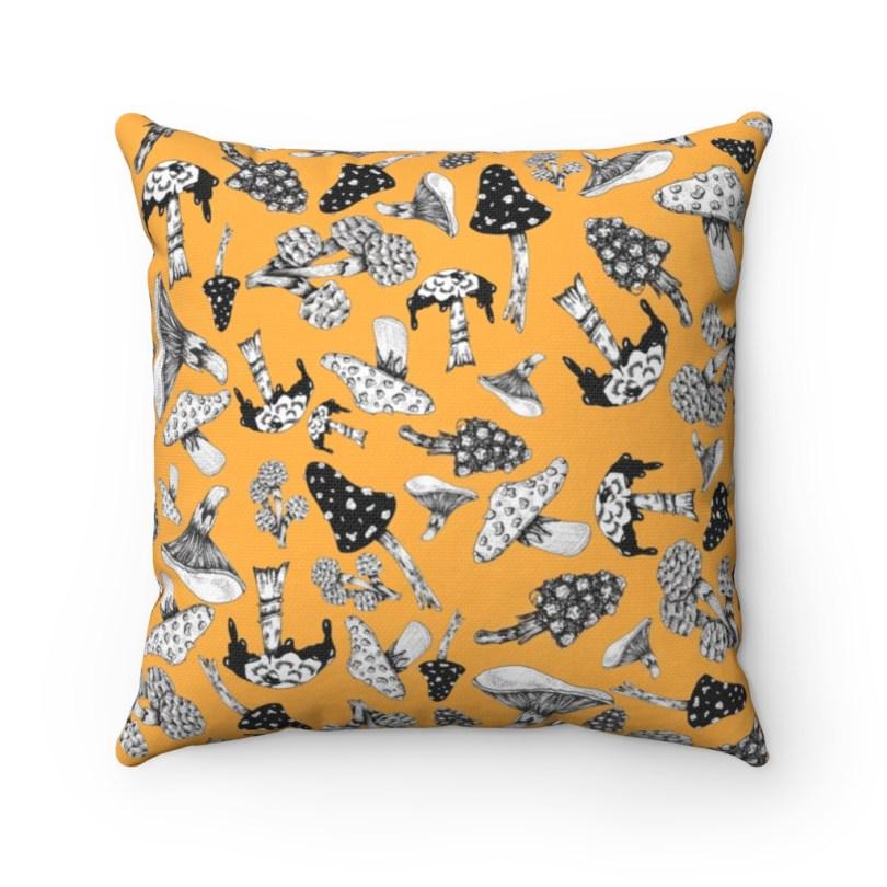 Shroom's in Tangerine Spun Polyester Square Pillow