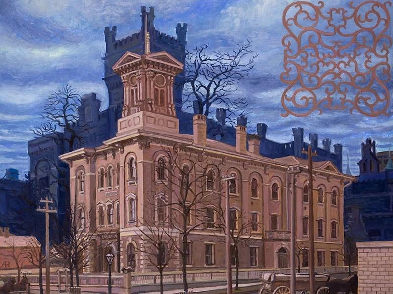 """The Jefferson School, oil on wood, 12"""" x 16"""", 2015"""