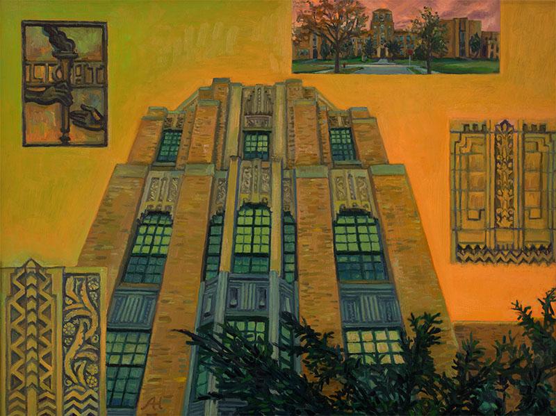 "Rufus King High School, oil on wood, 12"" x 16"", 2014"
