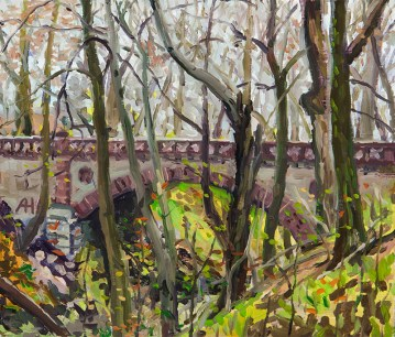 "Brick Arch Bridge in Lake Park, oil on wood, 6"" x 7"", 2016"
