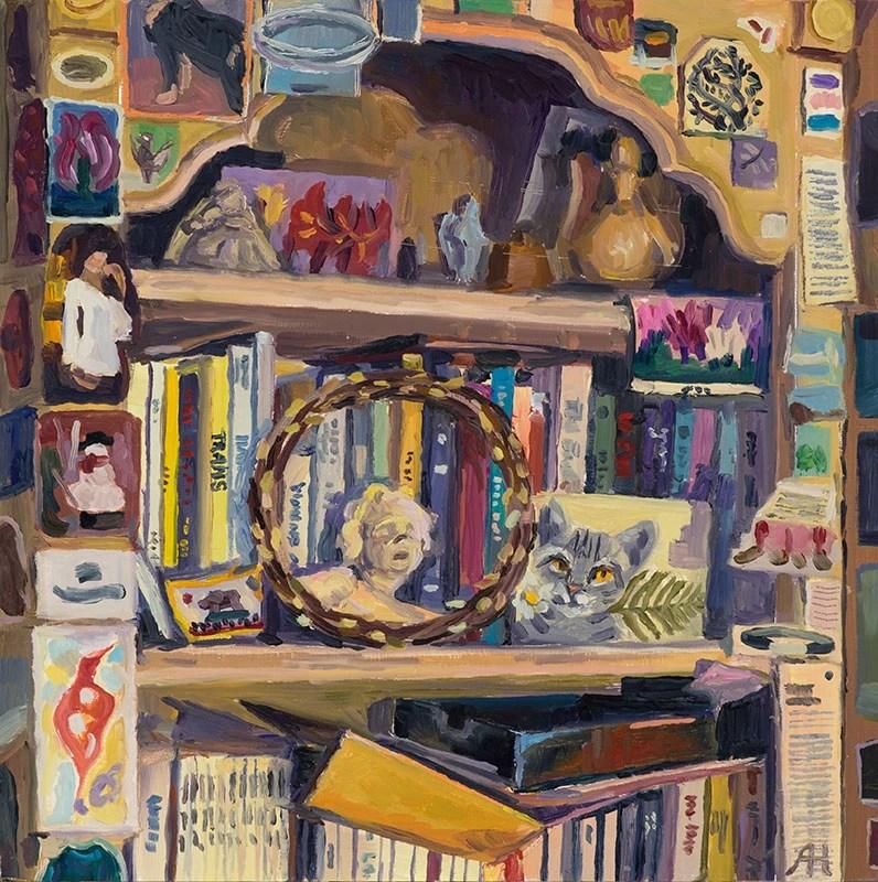 """Patti's Room, oil on wood, 8"""" x 8"""", 2018"""