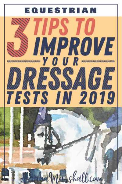 White Dressage Horse with title 3 Tips to Improve Your Dressage TEsts in 2019 #dressage #dressagetests