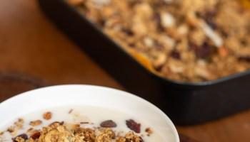 como se faz granola com castanhas, frutas e chocolate