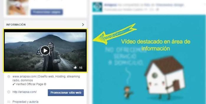 Video destacado en área de información en fan page de facebook