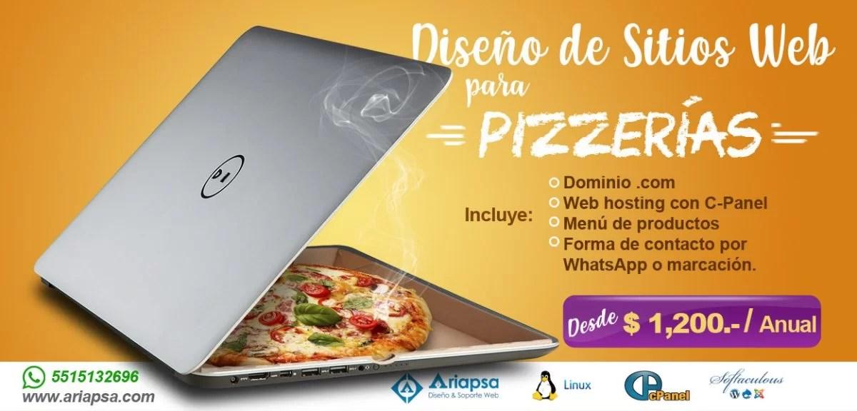 Diseño de sitios web para pizzerias Ariapsa