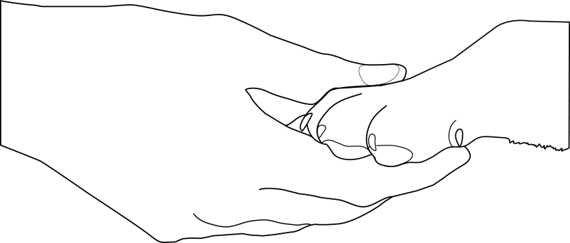 Outline of of a human's hand holding a dog's paw.