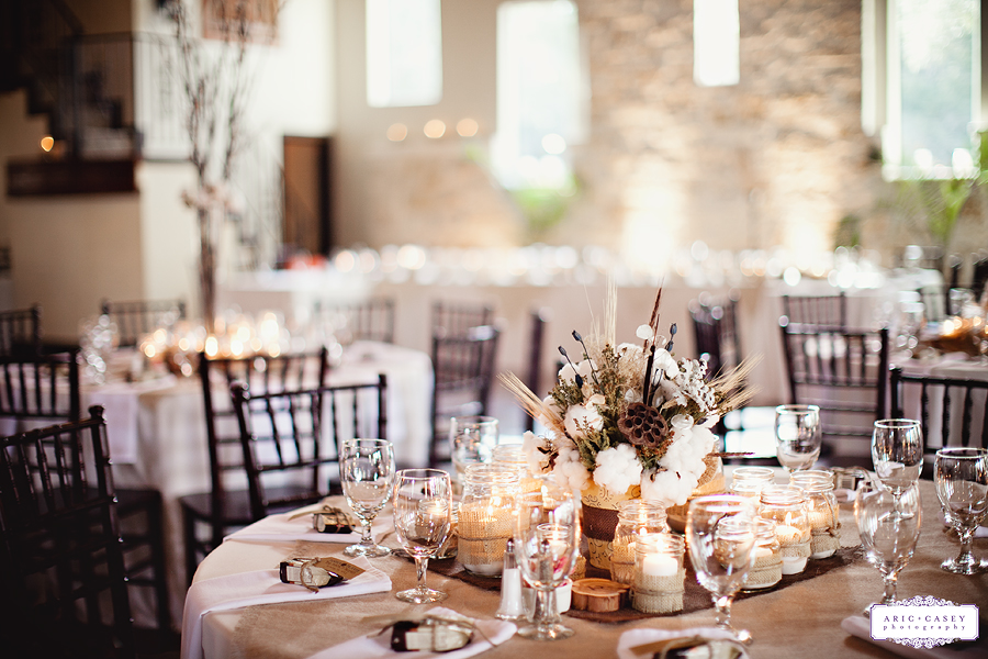 Texas Hill Country wedding at the beautiful Marquardt Ranch, rustic, elegant, sophisticated, beautiful wedding of Jenna Hardin and Travis Hillman photographed by Aric and Casey Photography Cotton wedding detials, cotton inspired centerpieces and florals