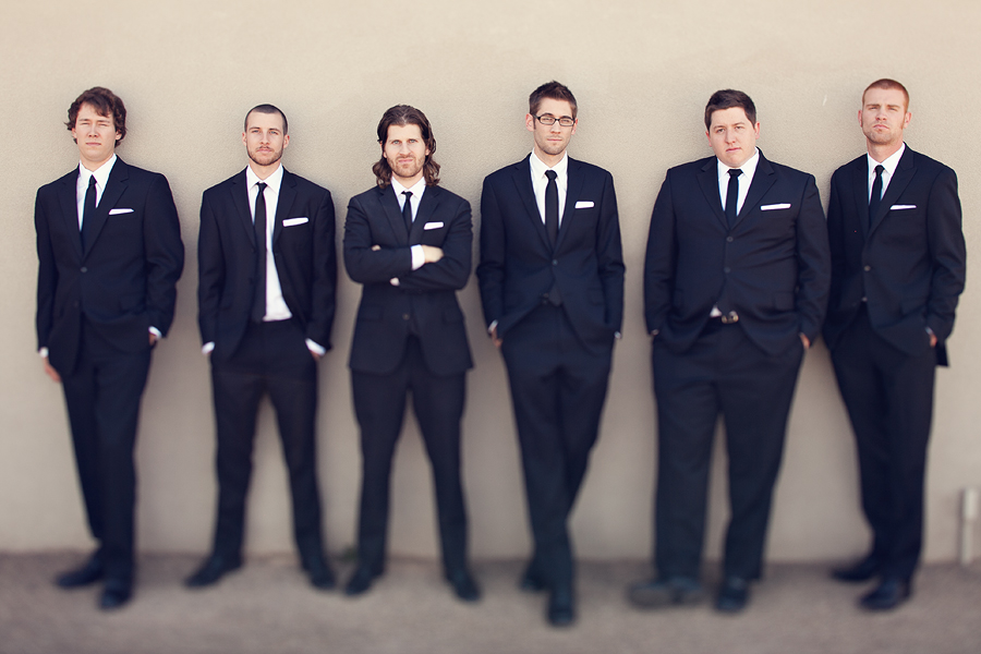 Modern Black suit and tie for groom and groomsmen wedding party in lubbock texas by aric and casey photography