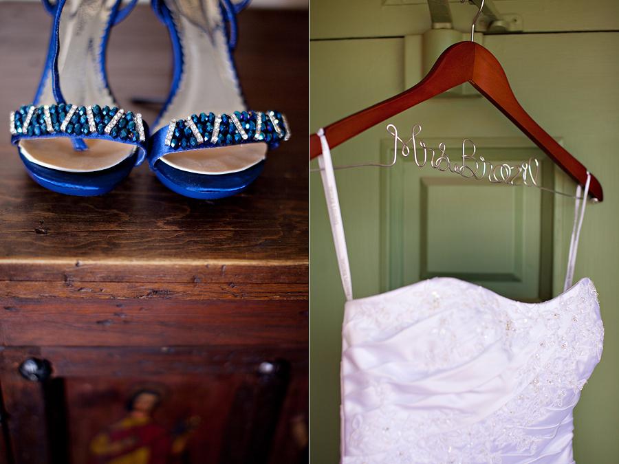 customized wedding dress hanger, blue wedding shoes