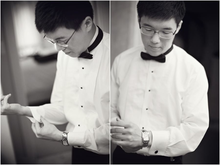 classic black and white groom in bow tie