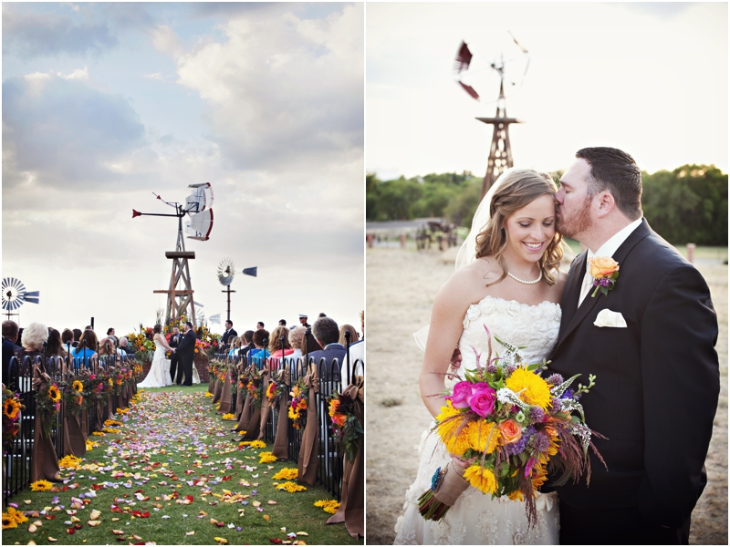Sunflower fall wedding at Lubbock windmill museum by College Flowers