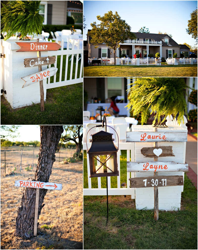 Handmade Rustic Wedding signs and details for outdoor wedding. Country home backyard wedding reception