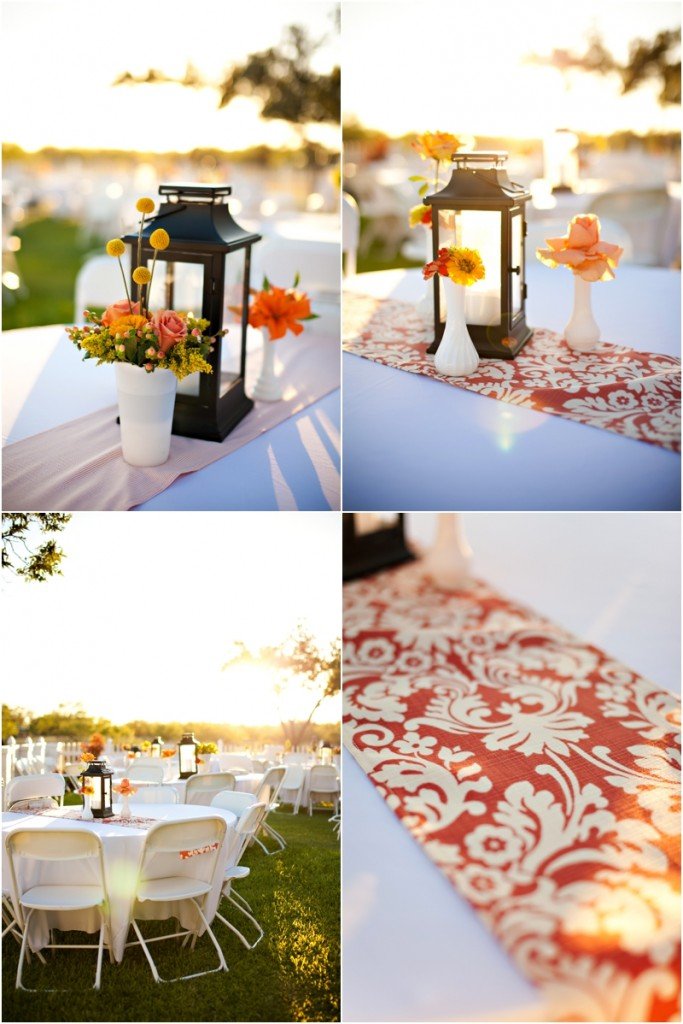 Orange and white wedding details for an country outdoor wedding, Black lanterns for centerpiece decorations