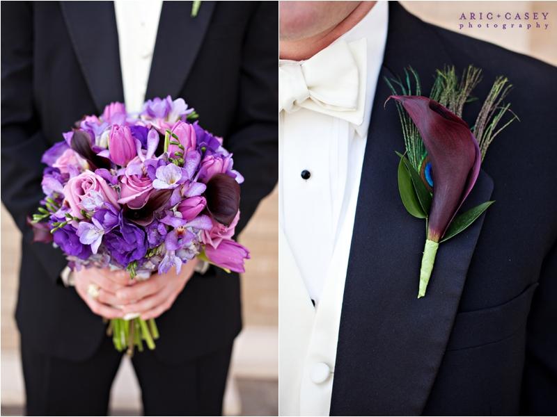 purple wedding bouquet peacock boutonierre
