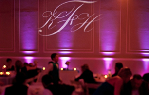 wedding uplighting with monogramed initials at watson building in lubbock texas