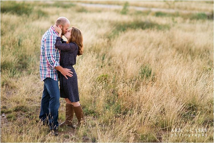 grassy field engagement photos